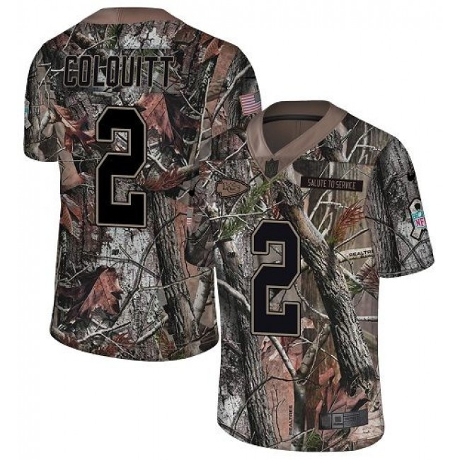 Nike Chiefs #2 Dustin Colquitt Camo Men's Stitched NFL Limited Rush Realtree Jersey