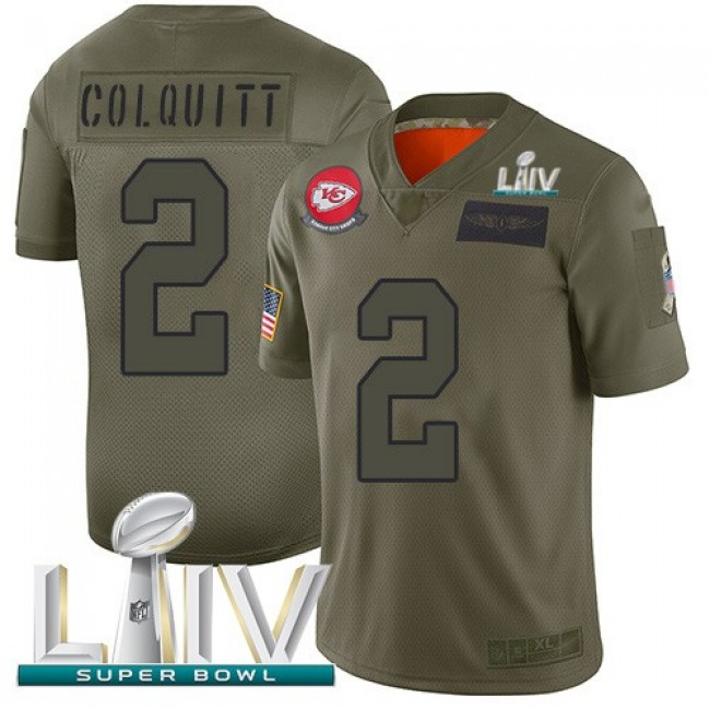Nike Chiefs #2 Dustin Colquitt Camo Super Bowl LIV 2020 Men's Stitched NFL Limited 2019 Salute To Service Jersey