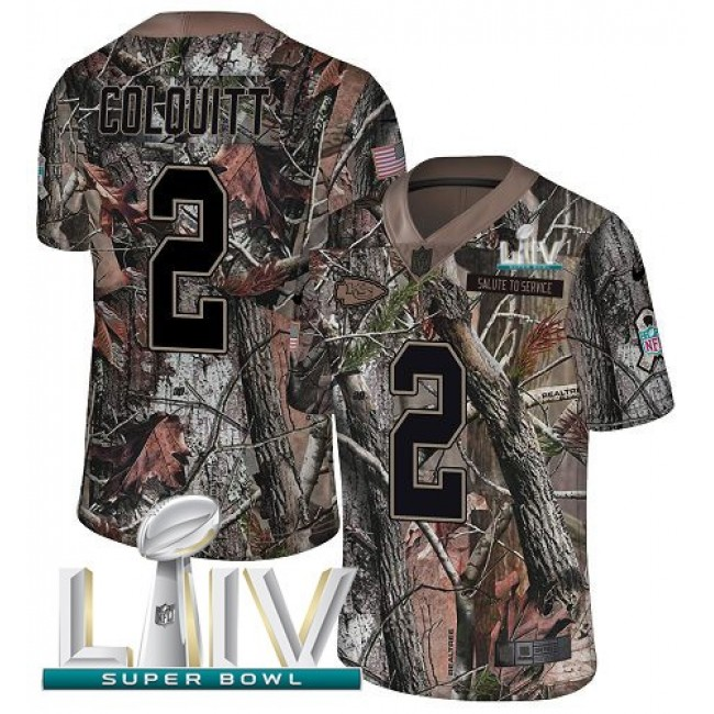 Nike Chiefs #2 Dustin Colquitt Camo Super Bowl LIV 2020 Men's Stitched NFL Limited Rush Realtree Jersey