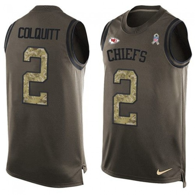 Nike Chiefs #2 Dustin Colquitt Green Men's Stitched NFL Limited Salute To Service Tank Top Jersey