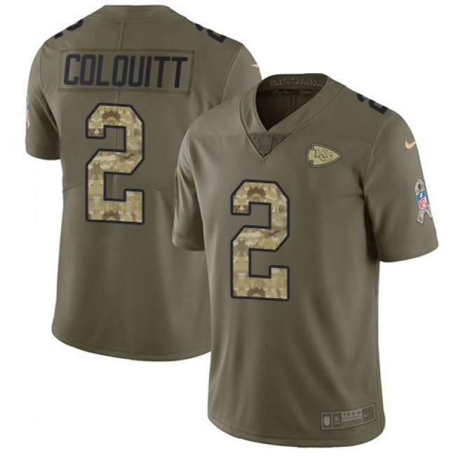 Kansas City Chiefs #2 Dustin Colquitt Olive-Camo Youth Stitched NFL Limited 2017 Salute to Service Jersey