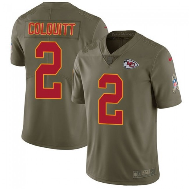 Nike Chiefs #2 Dustin Colquitt Olive Men's Stitched NFL Limited 2017 Salute to Service Jersey