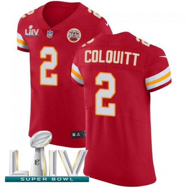 Nike Chiefs #2 Dustin Colquitt Red Super Bowl LIV 2020 Team Color Men's Stitched NFL Vapor Untouchable Elite Jersey