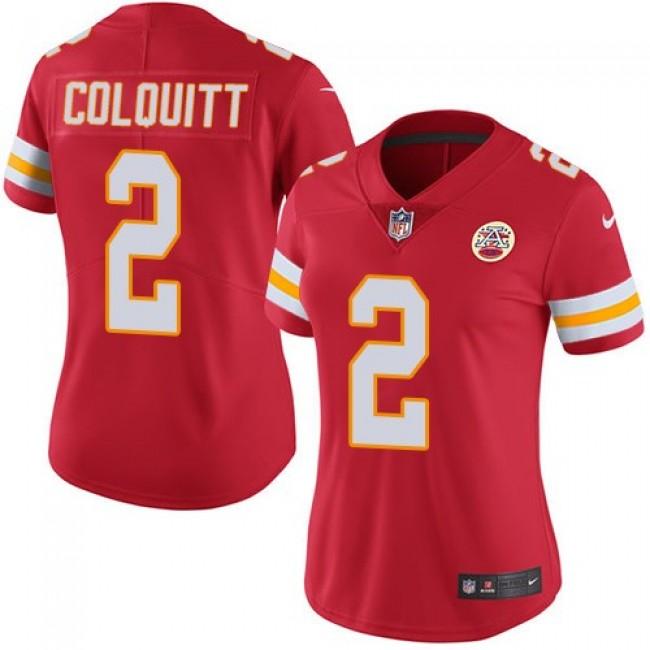 Women's Chiefs #2 Dustin Colquitt Red Team Color Stitched NFL Vapor Untouchable Limited Jersey