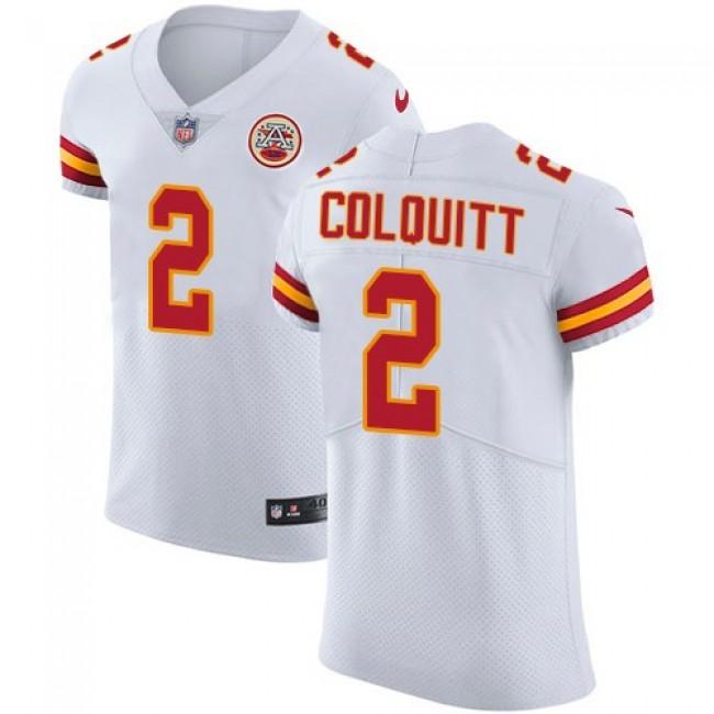 Nike Chiefs #2 Dustin Colquitt White Men's Stitched NFL Vapor Untouchable Elite Jersey