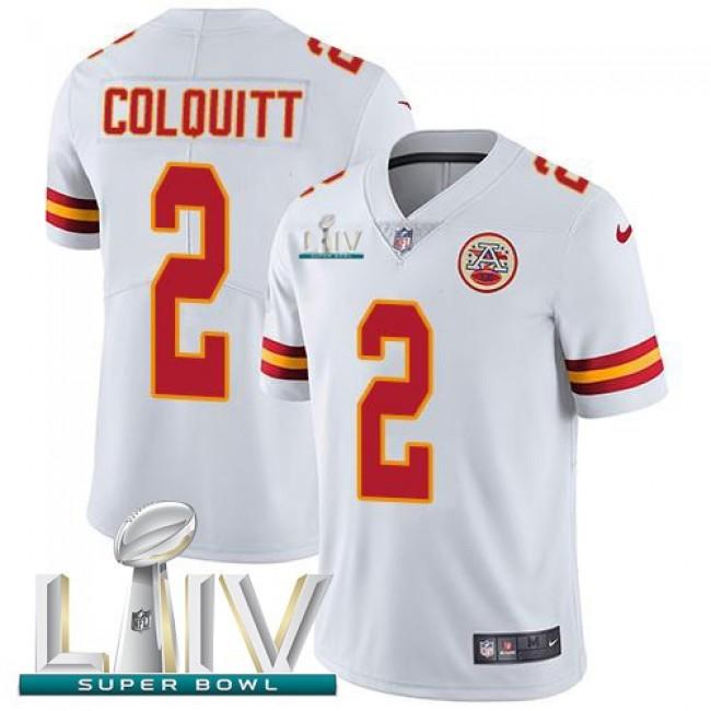 Nike Chiefs #2 Dustin Colquitt White Super Bowl LIV 2020 Men's Stitched NFL Vapor Untouchable Limited Jersey