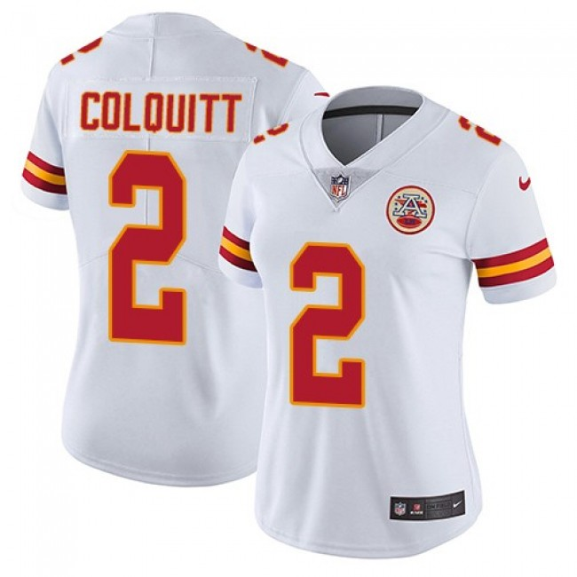 Women's Chiefs #2 Dustin Colquitt White Stitched NFL Vapor Untouchable Limited Jersey