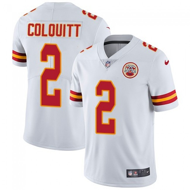 Kansas City Chiefs #2 Dustin Colquitt White Youth Stitched NFL Vapor Untouchable Limited Jersey