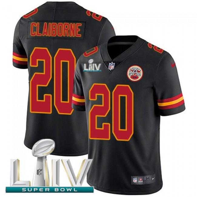 Nike Chiefs #20 Morris Claiborne Black Super Bowl LIV 2020 Men's Stitched NFL Limited Rush Jersey