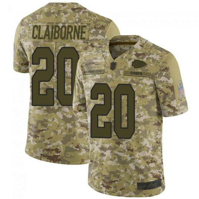 Nike Chiefs #20 Morris Claiborne Camo Men's Stitched NFL Limited 2018 Salute To Service Jersey