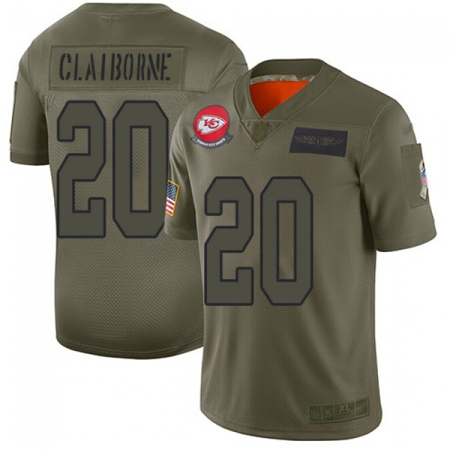 Nike Chiefs #20 Morris Claiborne Camo Men's Stitched NFL Limited 2019 Salute To Service Jersey