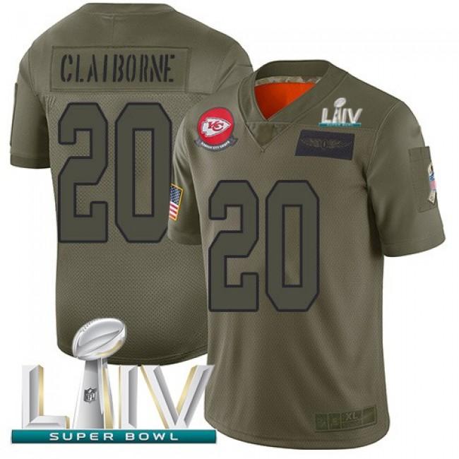 Nike Chiefs #20 Morris Claiborne Camo Super Bowl LIV 2020 Men's Stitched NFL Limited 2019 Salute To Service Jersey