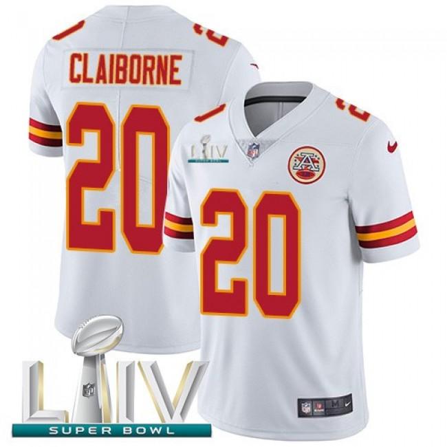 Nike Chiefs #20 Morris Claiborne White Super Bowl LIV 2020 Men's Stitched NFL Vapor Untouchable Limited Jersey