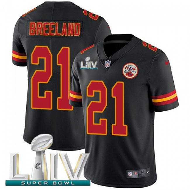Nike Chiefs #21 Bashaud Breeland Black Super Bowl LIV 2020 Men's Stitched NFL Limited Rush Jersey
