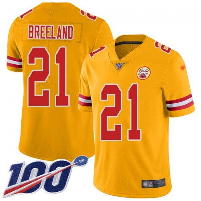 Nike Chiefs #21 Bashaud Breeland Gold Men's Stitched NFL Limited Inverted Legend 100th Season Jersey