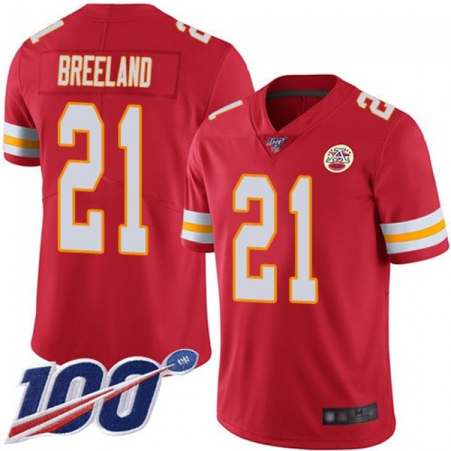 Nike Chiefs #21 Bashaud Breeland Red Team Color Men's Stitched NFL 100th Season Vapor Limited Jersey