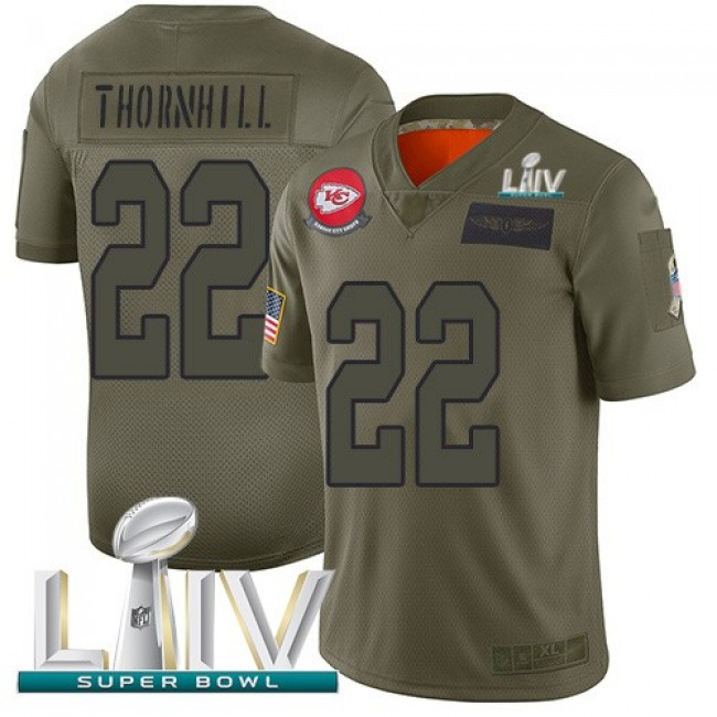 Nike Chiefs #22 Juan Thornhill Camo Super Bowl LIV 2020 Men's Stitched NFL Limited 2019 Salute To Service Jersey