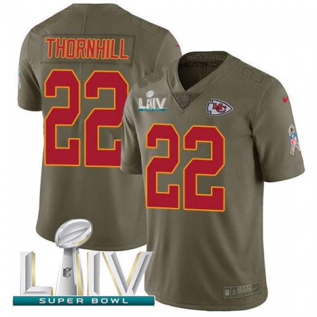 Nike Chiefs #22 Juan Thornhill Olive Super Bowl LIV 2020 Men's Stitched NFL Limited 2017 Salute To Service Jersey
