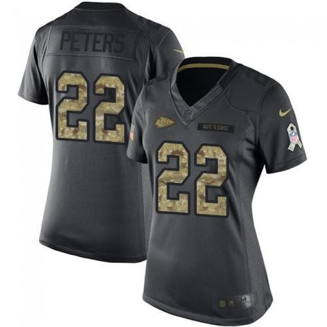 Women's Chiefs #22 Marcus Peters Black Stitched NFL Limited 2016 Salute to Service Jersey