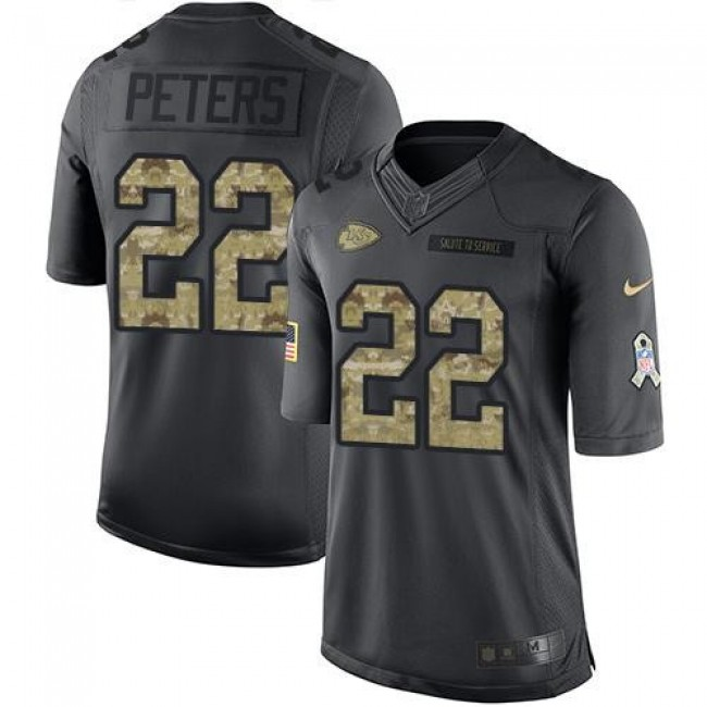 Kansas City Chiefs #22 Marcus Peters Black Youth Stitched NFL Limited 2016 Salute to Service Jersey