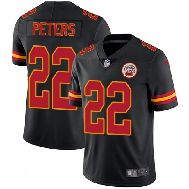 Kansas City Chiefs #22 Marcus Peters Black Youth Stitched NFL Limited Rush Jersey