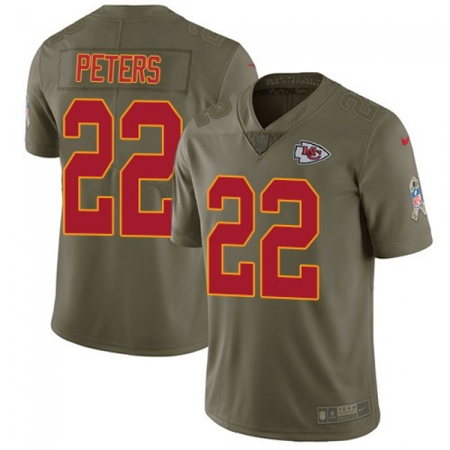 Kansas City Chiefs #22 Marcus Peters Olive Youth Stitched NFL Limited 2017 Salute to Service Jersey
