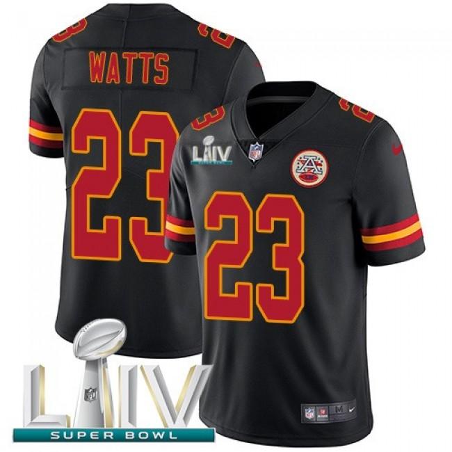 Nike Chiefs #23 Armani Watts Black Super Bowl LIV 2020 Men's Stitched NFL Limited Rush Jersey