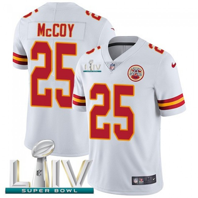 Nike Chiefs #25 LeSean McCoy White Super Bowl LIV 2020 Men's Stitched NFL Vapor Untouchable Limited Jersey