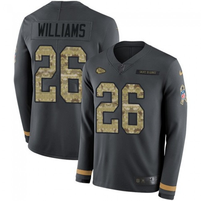 Nike Chiefs #26 Damien Williams Anthracite Salute to Service Men's Stitched NFL Limited Therma Long Sleeve Jersey