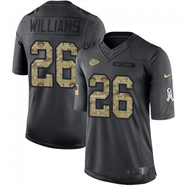 Nike Chiefs #26 Damien Williams Black Men's Stitched NFL Limited 2016 Salute to Service Jersey