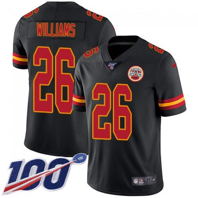 Nike Chiefs #26 Damien Williams Black Men's Stitched NFL Limited Rush 100th Season Jersey