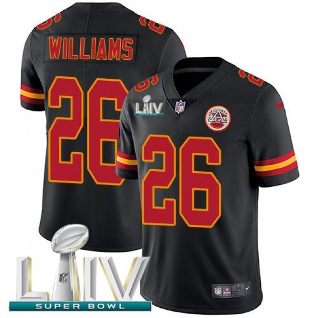 Nike Chiefs #26 Damien Williams Black Super Bowl LIV 2020 Men's Stitched NFL Limited Rush Jersey