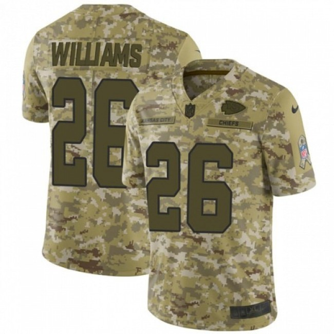 Nike Chiefs #26 Damien Williams Camo Men's Stitched NFL Limited 2018 Salute To Service Jersey