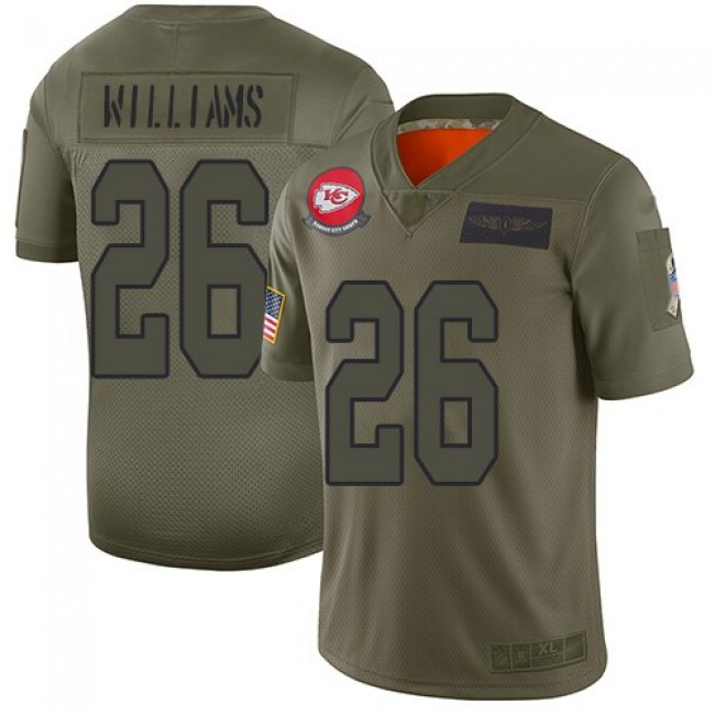 Nike Chiefs #26 Damien Williams Camo Men's Stitched NFL Limited 2019 Salute To Service Jersey