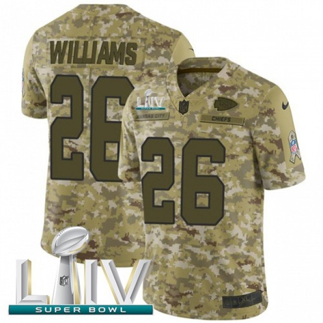 Nike Chiefs #26 Damien Williams Camo Super Bowl LIV 2020 Men's Stitched NFL Limited 2018 Salute To Service Jersey