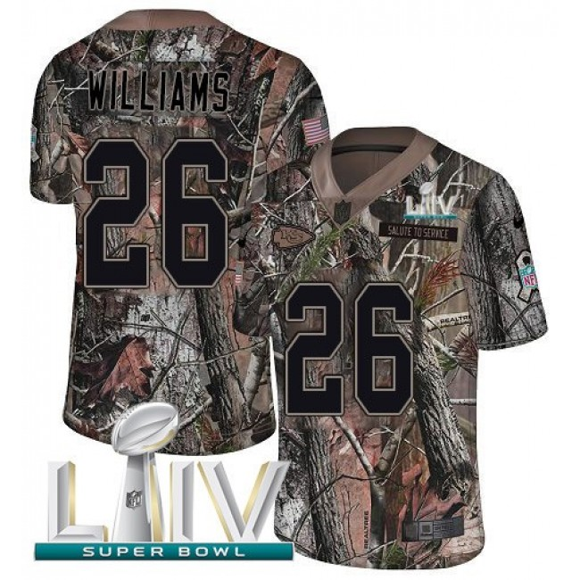 Nike Chiefs #26 Damien Williams Camo Super Bowl LIV 2020 Men's Stitched NFL Limited Rush Realtree Jersey