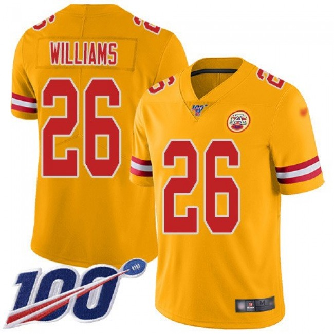 Nike Chiefs #26 Damien Williams Gold Men's Stitched NFL Limited Inverted Legend 100th Season Jersey