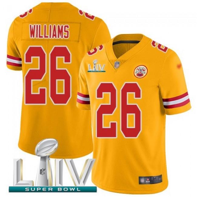 Nike Chiefs #26 Damien Williams Gold Super Bowl LIV 2020 Men's Stitched NFL Limited Inverted Legend Jersey
