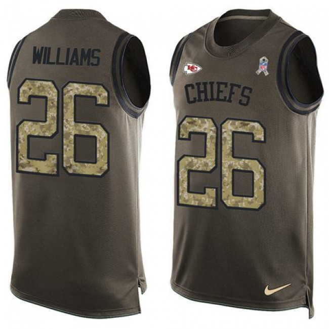 Nike Chiefs #26 Damien Williams Green Men's Stitched NFL Limited Salute To Service Tank Top Jersey