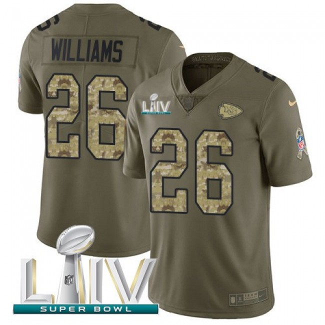 Nike Chiefs #26 Damien Williams Olive/Camo Super Bowl LIV 2020 Men's Stitched NFL Limited 2017 Salute To Service Jersey