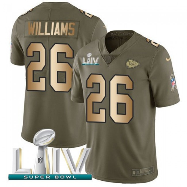 Nike Chiefs #26 Damien Williams Olive/Gold Super Bowl LIV 2020 Men's Stitched NFL Limited 2017 Salute To Service Jersey