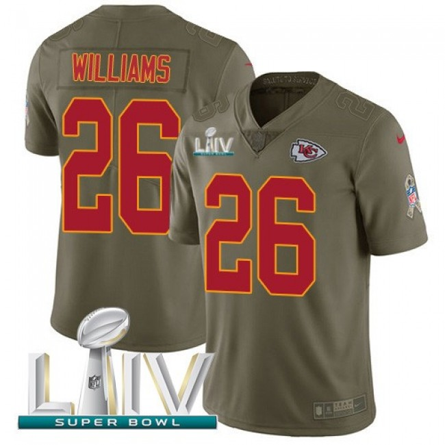 Nike Chiefs #26 Damien Williams Olive Super Bowl LIV 2020 Men's Stitched NFL Limited 2017 Salute To Service Jersey