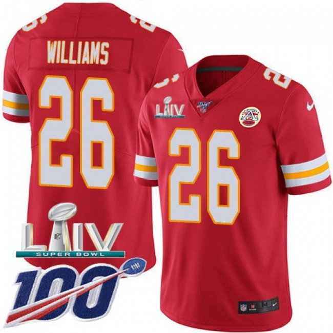 Nike Chiefs #26 Damien Williams Red Super Bowl LIV 2020 Team Color Men's Stitched NFL 100th Season Vapor Untouchable Limited Jersey