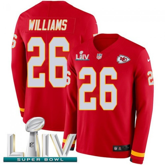 Nike Chiefs #26 Damien Williams Red Super Bowl LIV 2020 Team Color Men's Stitched NFL Limited Therma Long Sleeve Jersey