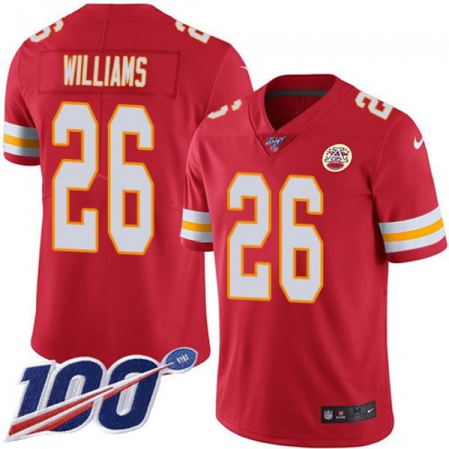 Nike Chiefs #26 Damien Williams Red Team Color Men's Stitched NFL 100th Season Vapor Untouchable Limited Jersey
