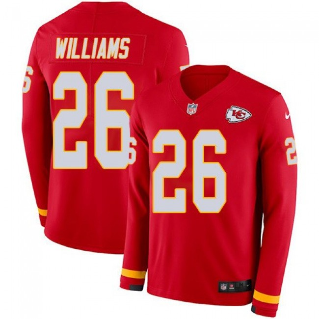 Nike Chiefs #26 Damien Williams Red Team Color Men's Stitched NFL Limited Therma Long Sleeve Jersey