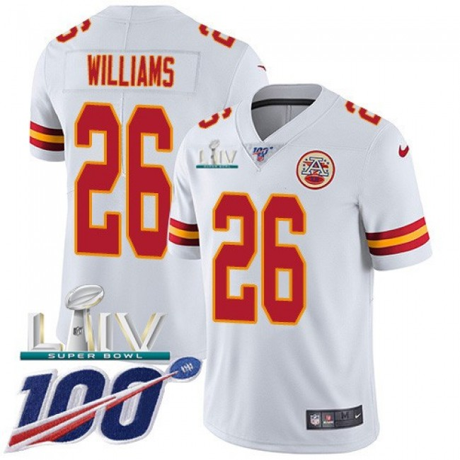 Nike Chiefs #26 Damien Williams White Super Bowl LIV 2020 Men's Stitched NFL 100th Season Vapor Untouchable Limited Jersey