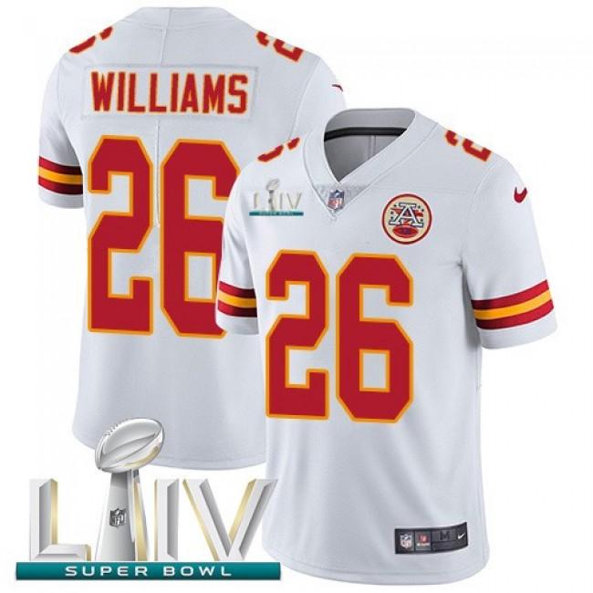 Nike Chiefs #26 Damien Williams White Super Bowl LIV 2020 Men's Stitched NFL Vapor Untouchable Limited Jersey
