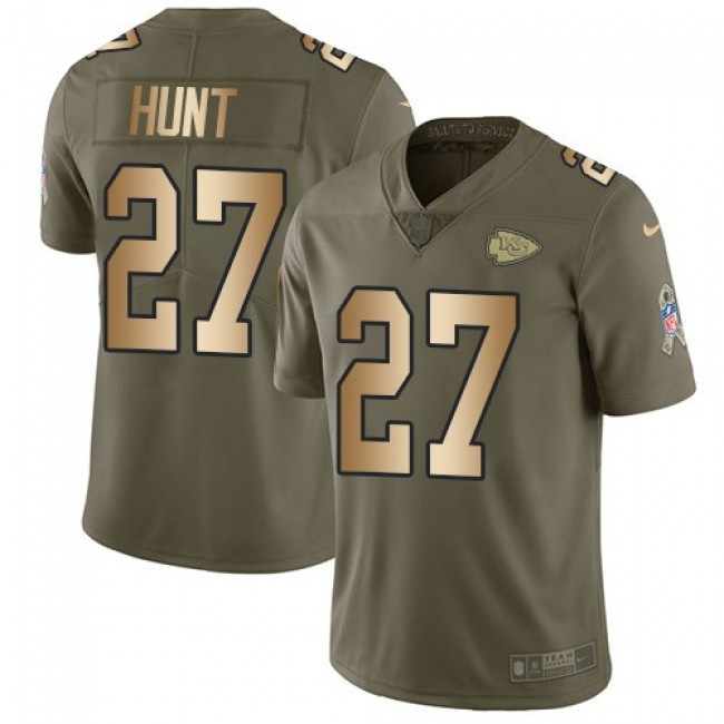 Kansas City Chiefs #27 Kareem Hunt Olive-Gold Youth Stitched NFL Limited 2017 Salute to Service Jersey