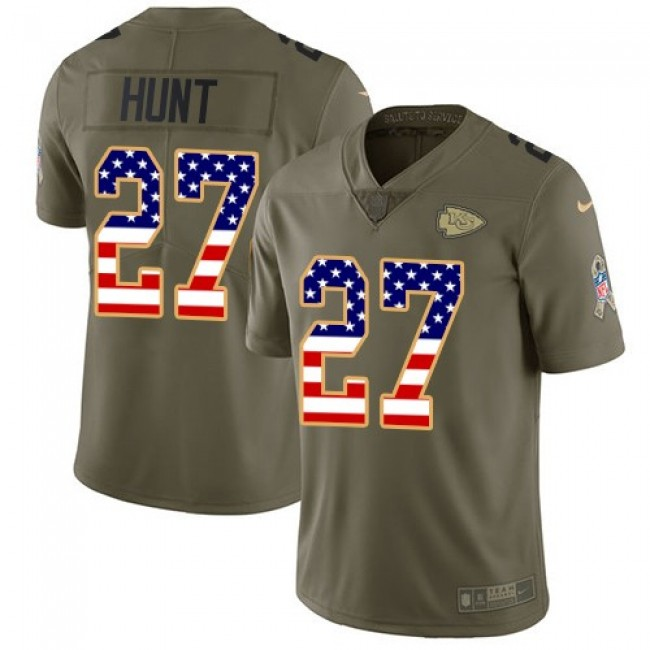 Kansas City Chiefs #27 Kareem Hunt Olive-USA Flag Youth Stitched NFL Limited 2017 Salute to Service Jersey